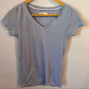 HOLLISTER blue and white striped t-shirt